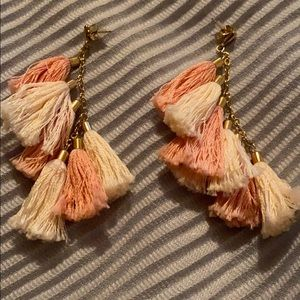 Coral Tassel earrings!!